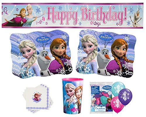 Deluxe Frozen Party Supplies- Happy Birthday Banner, Anna & Elsa Balloons, Napkins, Place Mats and Birthday Girl Cup