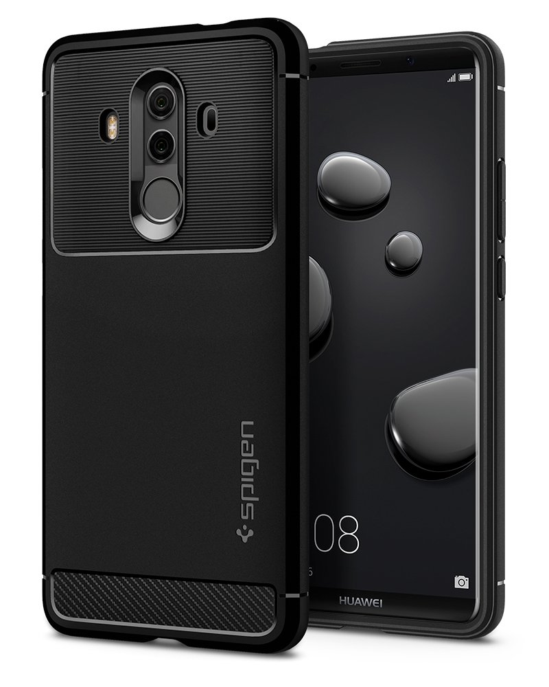 Spigen Rugged Armor Huawei Mate 10 Pro Case with Resilient Shock Absorption and Carbon Fiber Design for Huawei Mate 10 Pro/Mate 10 Porsche Design (2017) - Black