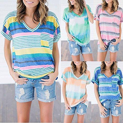 Moda fashion Casual Tops Collo shirt Maglietta Giovane Righe Sciolto Donna Manica Simple A V Bluse Camicie T Patchwork Verde Corta Tumblr Estivo dta6xxnq