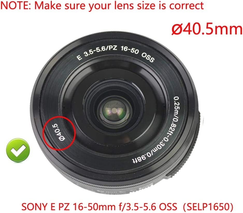 WH1916 Metal Lens Hood Shade 40.5mm for Sony Alpha a6400 A6500 A6300 A6000 with 16-50mm Lens//Nikon 1 Nikkor 10-30mm Lens