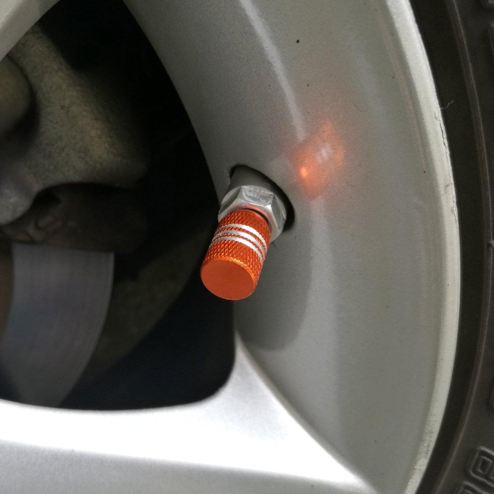 SENZEAL 5pcs Capuchons de Poussi/ère de Voiture Argent Autour de Roue en Aluminium Pneu Valve Caps Rose