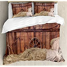 Barn Wood Wagon Wheel King Size Duvet Cover Set by Ambesonne, Rural Old Horse Stable Barn Interior Hay and Wood Planks, Decorative 3 Piece Bedding Set with 2 Pillow Shams, Brown Yellow Cream