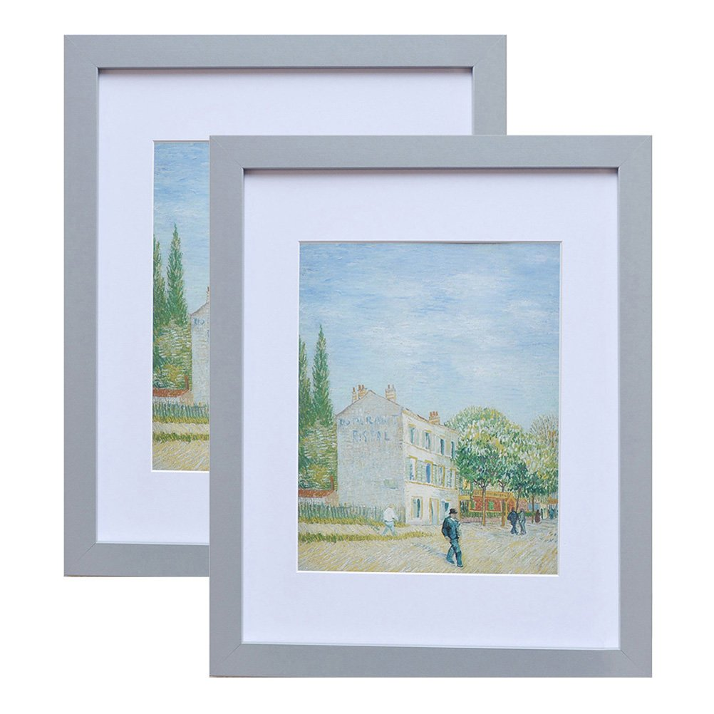 Muzilife 11x14 Wood Picture Frame - Flat Profile - 2 pcs - for Picture 8x10 with Mat or 11x14 Without Mat (Gray)