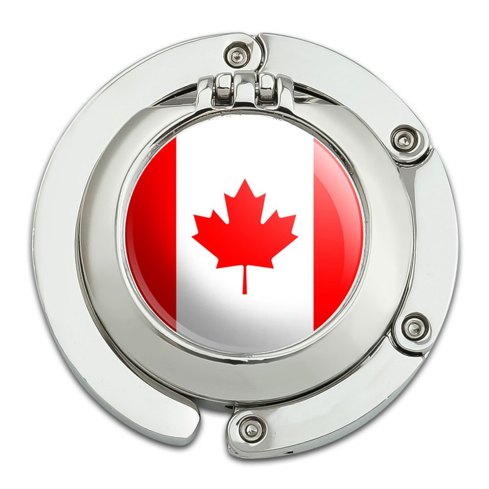 Canada National Country Flag Foldable Table Bag Purse Caddy Handbag Hanger Holder Hook with Folding Compact Mirror