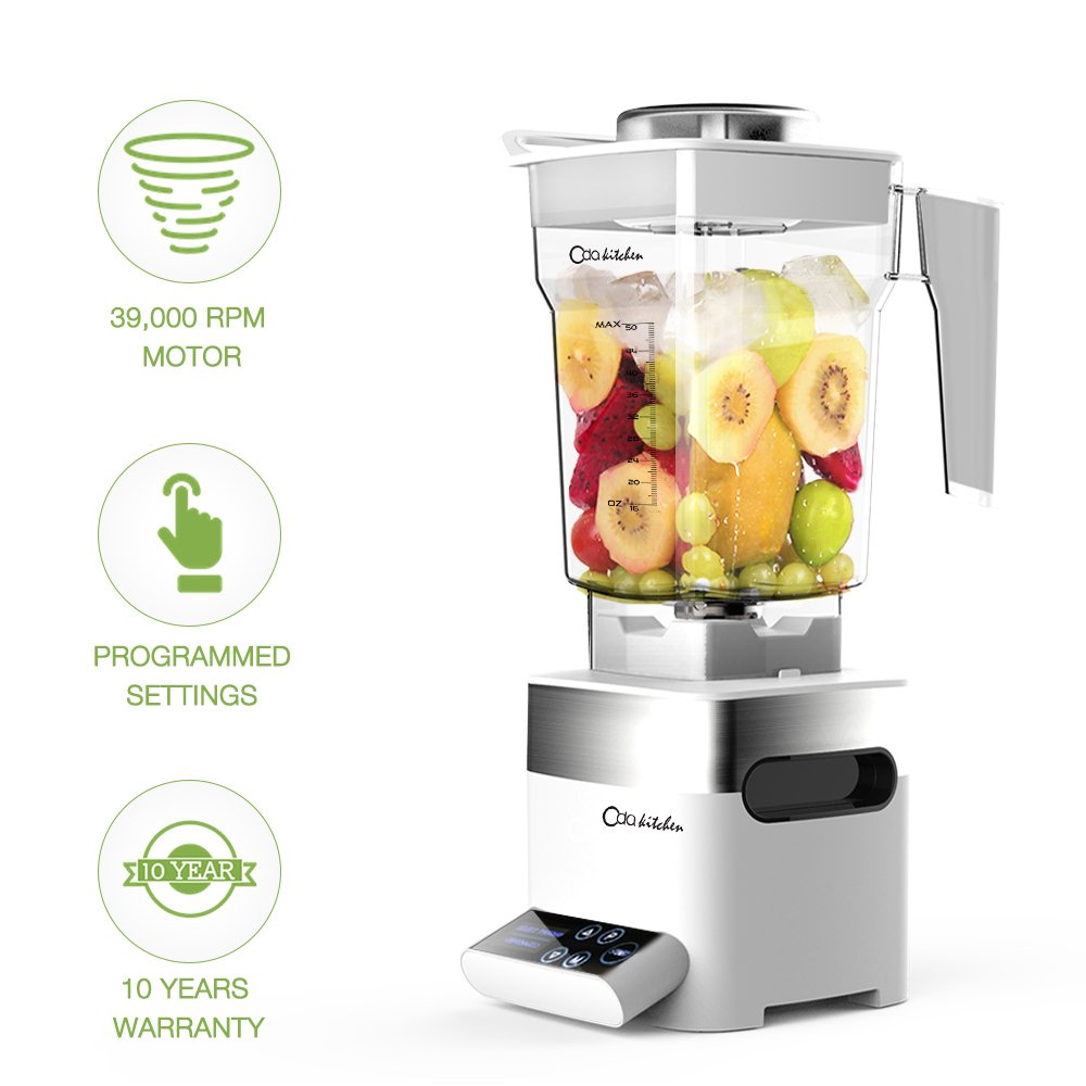 ODA Kitchen Professional Blender - Smoothie Maker 39,000 RPM Total Nutrition Food Processor with 50 OZ BPA-Free Pitcher, Programmed Settings High Speed Blender for Ice Fruit Vegetable Smoothie Soup by ODA Kitchen