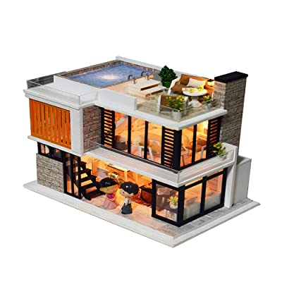 TOPBIGGER Dollhouse Miniature DIY House Kit Creative Room with Furniture for Romantic Gift DIY Wooden Dollhouse Kit 27x17.3x23.5 cm: Home & Kitchen