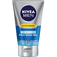 NIVEA Men's Active Energy Moisturizing Face Wash Gel, 100mL