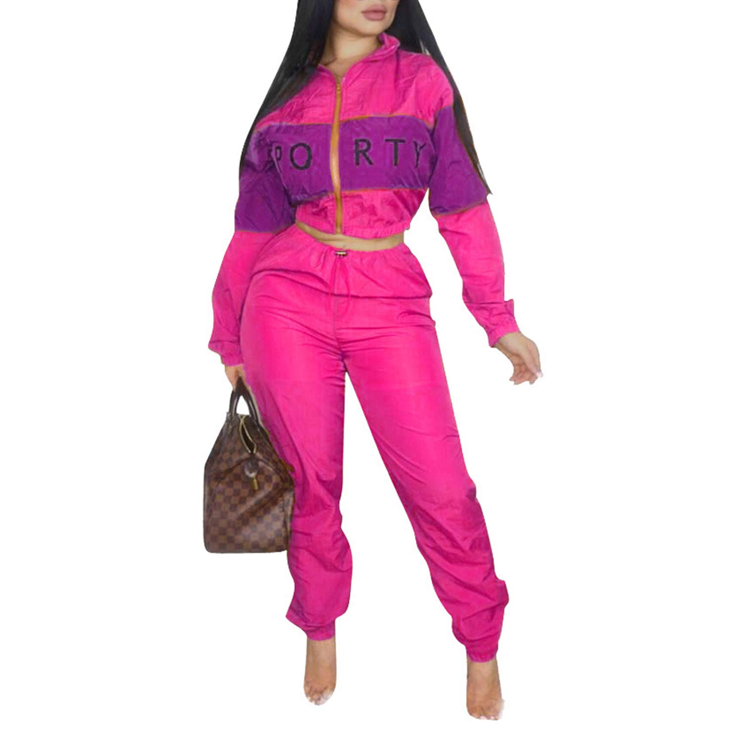 Casual Sweatsuit Crop Tops Long Sleeves Jacket High Waisted Pants Letter Rosy L by Sherro