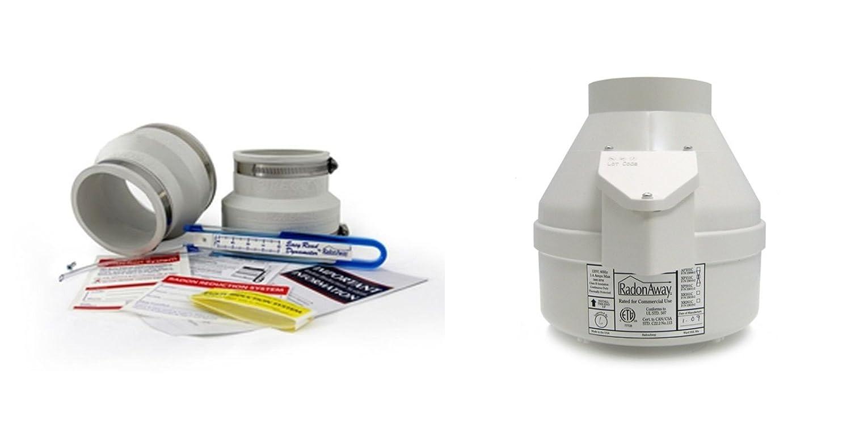RadonAway RP145 Radon Fan /& install kit Couplings /& U-tube vacuum gauge /& labels