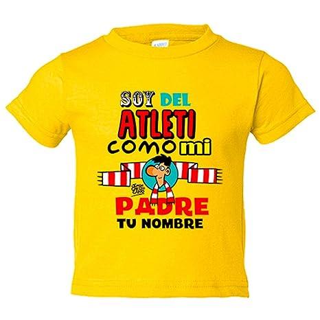 Camiseta niño soy del Atleti Atlético de Madrid como mi padre  personalizable con nombre - Amarillo cc16eebb10921