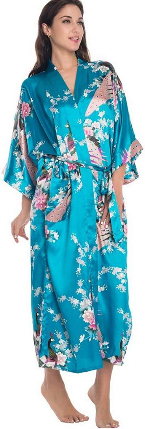Amazon.com: Robe Kimono, Purple Chinese Women Satin Robe ...
