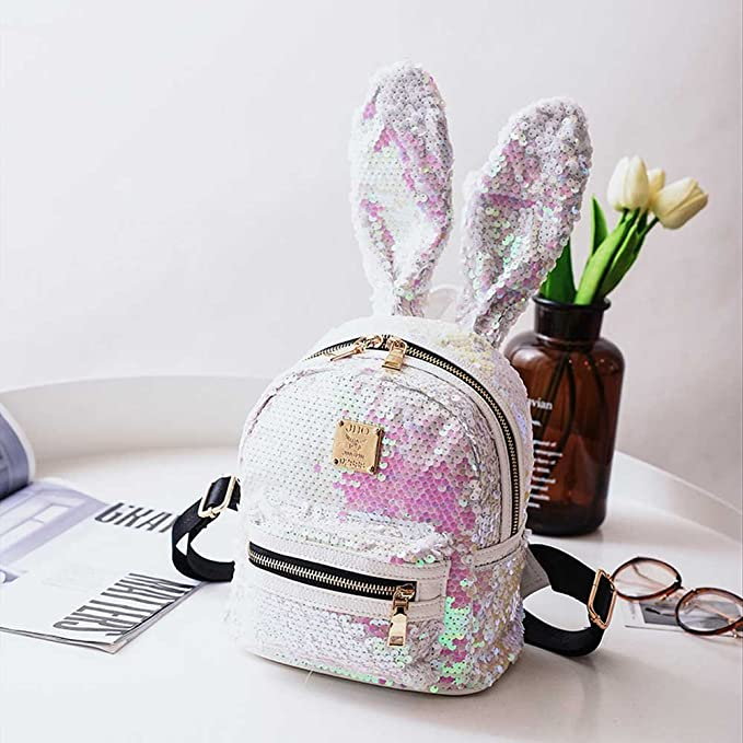 Amazon.com: Amyannie Sequins Female Ears Deformed Backpack Female Cute College Cute School Bags (Color : White): Home & Kitchen
