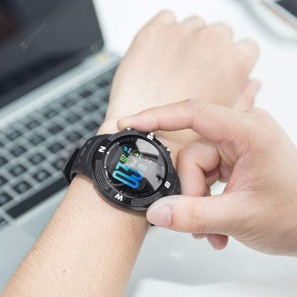 No.1 F18 GPS Sports - Reloj Inteligente, Color Negro: Amazon ...