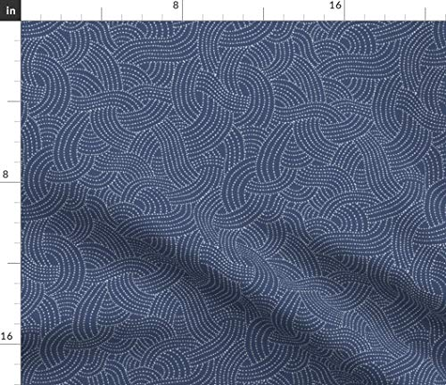 Spoonflower Navy Fabric - Sashiko Japanese Waves Dots Lines Indigo Print on Fabric by The Yard - Petal Signature Cotton for Sewing Quilting Apparel Crafts Decor