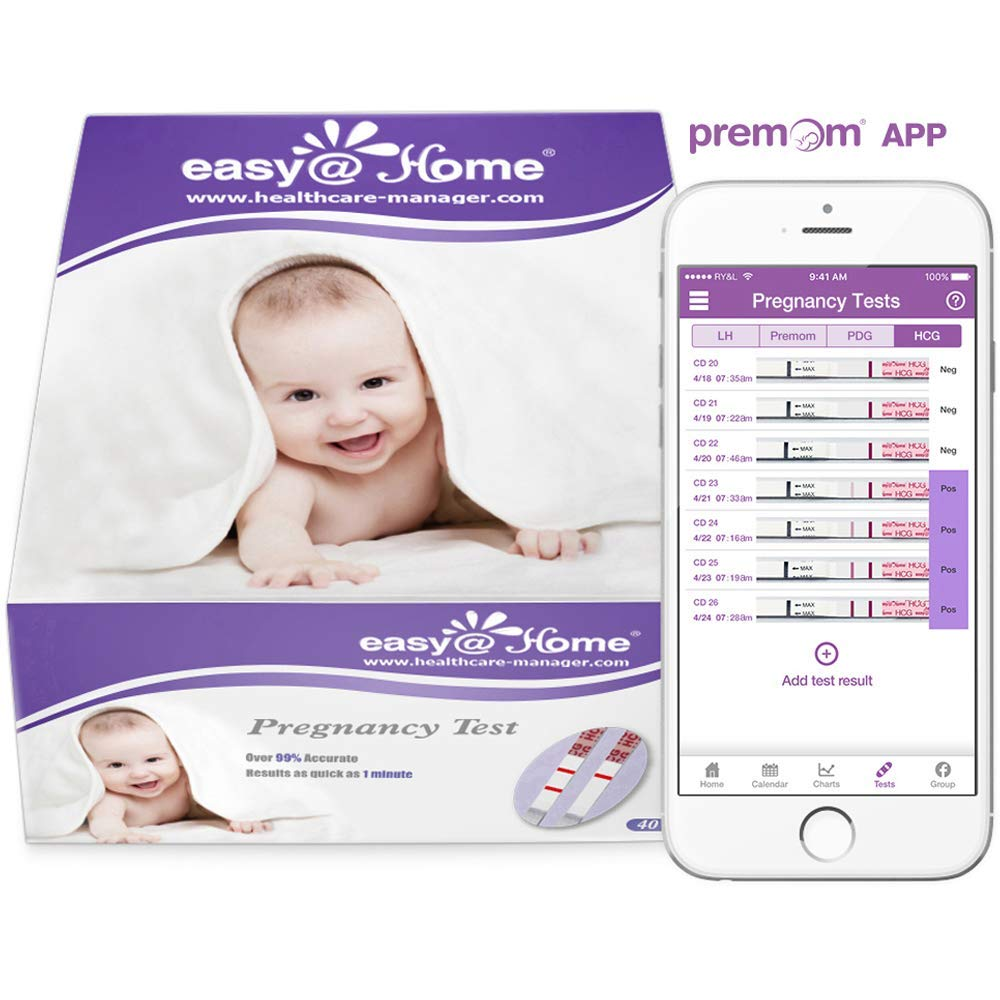 Easy@Home 40 Pregnancy (HCG) Urine Test Strips, FSA Eligible, Powered by Premom Ovulation Predictor iOS and Android APP, 40 HCG Tests by Easy@Home