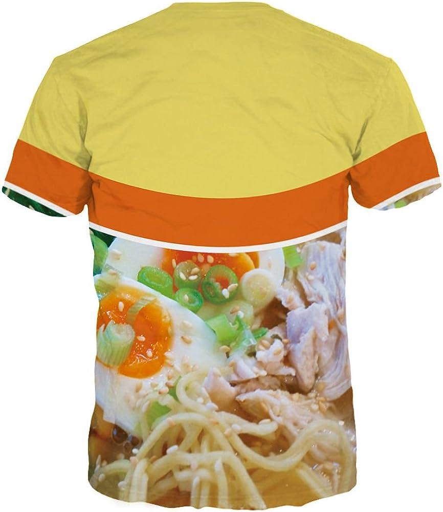 SUCHN 3D Ramen Noodle Soup Print Sweatshirt Pork//Chicken//Beef Funny Hoodies T-Shirt Set