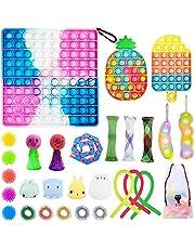 28 Pcs Fidget Toys Set, Cheap Sensory Fidget Toy Pack, Stress Relief Hand Toys for Adults Kids, Fidget Box with Big Size Push Pop Bubble Toys & More (28 pcs Fidget Pack)