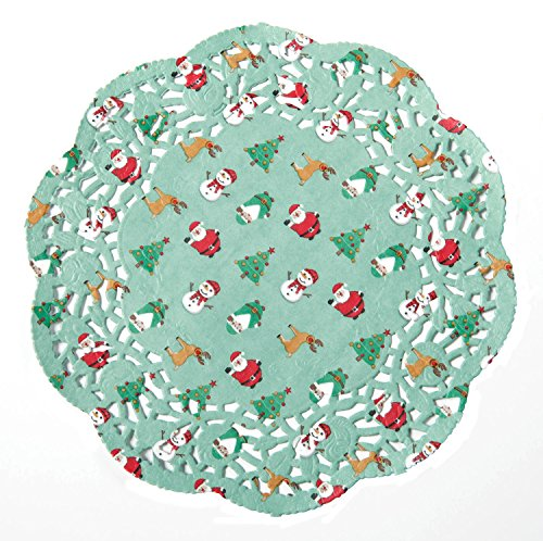 Christmas Beautiful Lace Round Paper Doilies,8-inch,Tree,Santa,Snowman, Pack of -