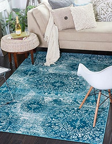 Unique Loom Sofia Collection Turquoise 4 x 6 Area Rug (4' x 6')