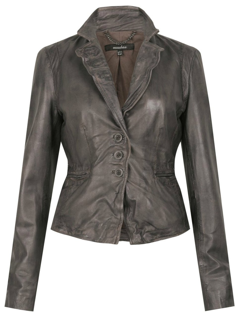 Muubaa Naiden Leather Blazer In Mud Grey (6)