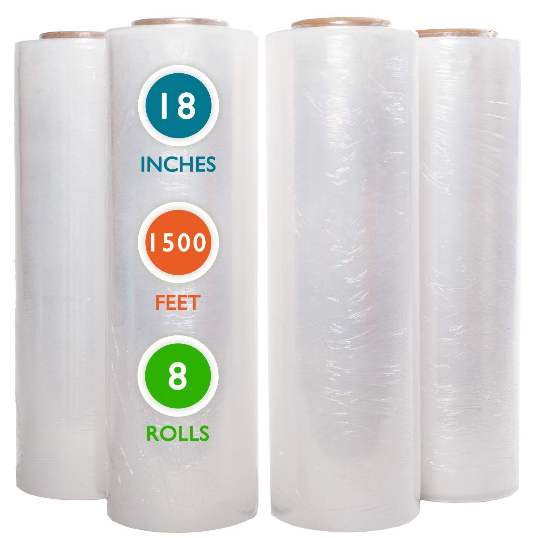 8 Rolls 18'' x 1500 Ft Stretch Wrap Heavy Duty, Industrial Strength Shrink Wrap, 55 Gauge High Performance Stretch Film Replaces 80 Gauge Low Films, Clear Hand Stretch Wrap
