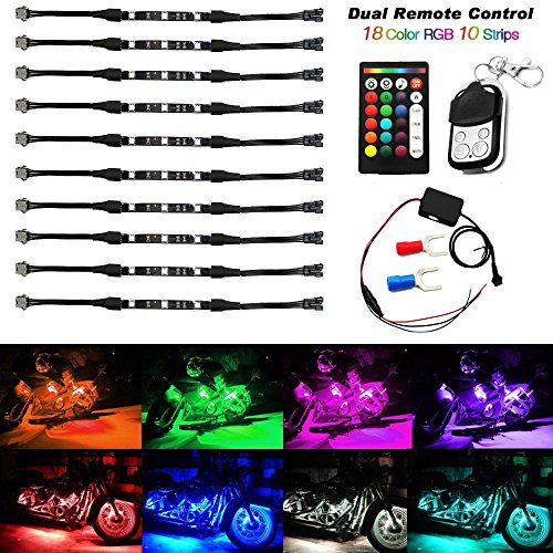 AMBOTHER 10Pcs Motorcycle LED Light Kit Strips Dual IR/RF Remote Controller Multi-Color Accent Glow Neon Lights Lamp Flexible for Harley Davidson Honda Kawasaki Suzuki Ducati Polaris KTM (Clear Stock) ()