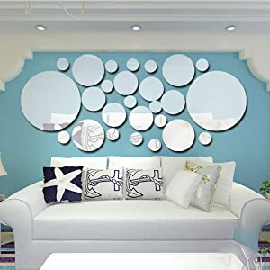 HOODDEAL 3D Wall Art Mirror Stickers Decor Solid Round Decals DIY Living Room Bedroom Home Decorations (26PCS) (Sliver)