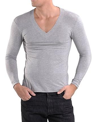 Amazon.com  KalvonFu Men s Modal Deep V Neck Long Sleeve Soft Basic ... deb57065f