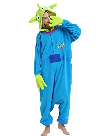 c92b70f1e743 Little Green Man Alien Onesie Pajama Costume for Adults and Teenagers. S
