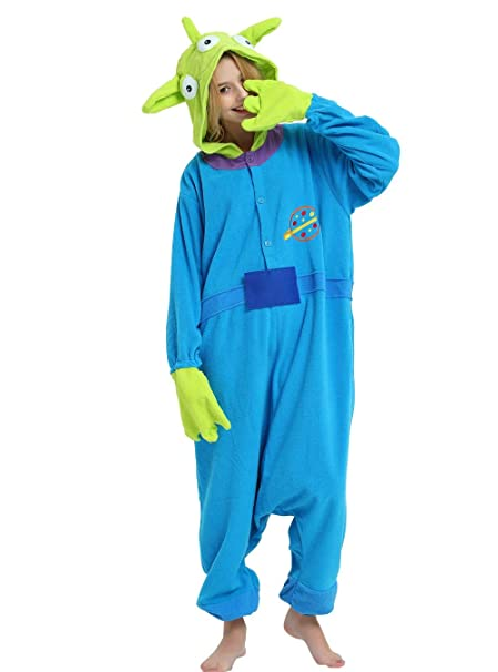 3ba8e93165 Little Green Man Alien Onesie Pajama Costume for Adults and Teenagers. S