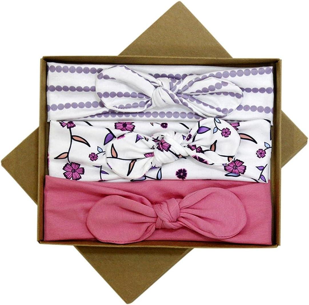 Gusspower 3 Pcs Diademas para bebé y niña, diseño de recién Nacido con Lazo para el Pelo Embalaje de Caja de Regalo