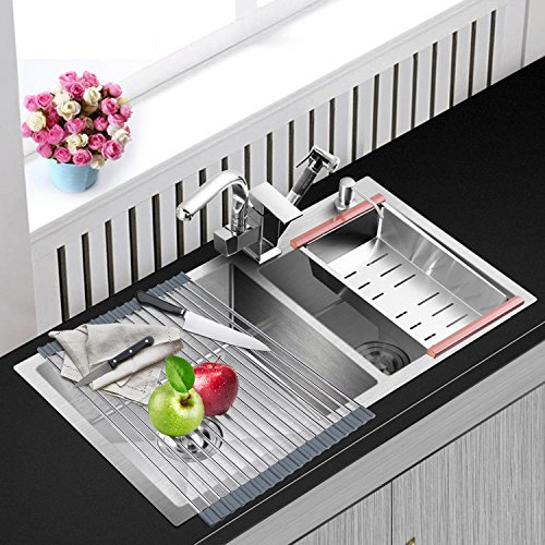 ArtKitchen Dish Drying Rack Over the Sink Roll-up Stainless