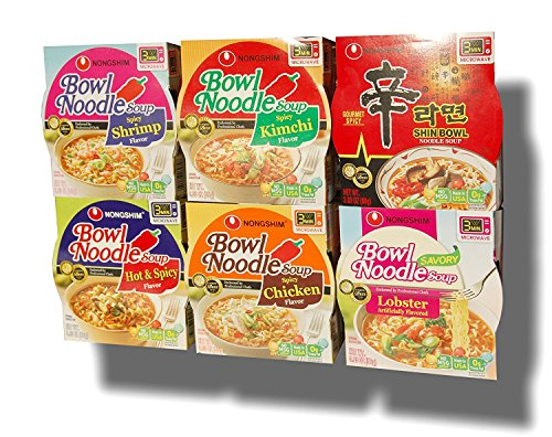 Nongshim Bowl Instant Noodle Soup Assorted Bundle 6 Flavors: Shin Bowl + Lobster + Spicy Shrimp + Spicy Kimchi + Spicy Chicken + Hot & Spicy (12-pack) (Kimchi Noodle)
