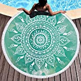Violet Mist Round Beach Towel Roundie Indian Mandala Yoga Mat Blanket Table Cloth Cover Boho Gypsy Tapestry Soft Absorbent Blanket throw 59'' with Tassel Fringing (Green)