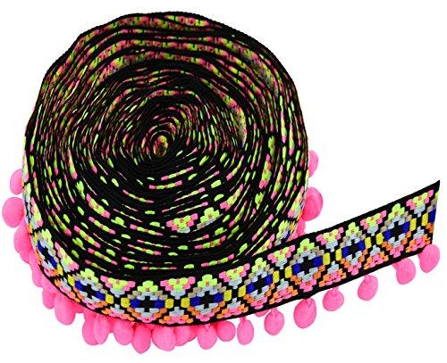 Fabric Sewing Trim - Ancefine Rainbow Pom Poms Tassel Trim Ball Fringe Sewing Fabric for Handwork Craft Decoration,5 Yards (Pink)