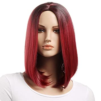 Xi.rocks Red Womens Wigs Brown For Men Ombre Bob Wig Synthetic Hair Blonde Wig Short Curly Cosplay Wigs For Women Heat Resistant Synthetic None-lacewigs Synthetic Wigs