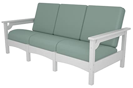 Amazon.com : POLYWOOD PWCLC71WH-5413 Club Sofa, White/Spa ...