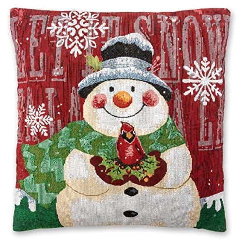 Christmas Pillow Throw Covers (Set of 4) - Snowman Design Holiday Pillow Cases, Throw Pillow Decor, Winter Season Decorations for Couch, Chair, Sofa - 18 x 18 Inches