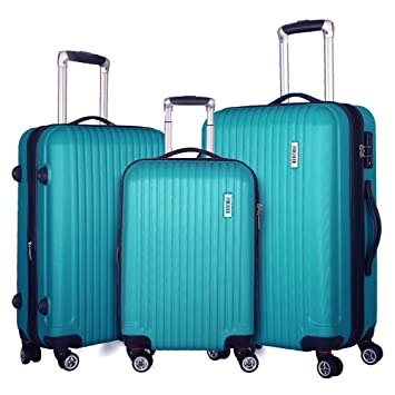 e4f48f0dff6a Fochier 3 piece Luggage Set Expandable Lightweight Spinner Suitcase with  TSA Lock
