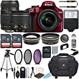 Nikon D3400 24.2 MP DSLR Camera (Red) w/AF-P DX NIKKOR 18-55mm f/3.5-5.6G VR Lens & Tamron 70-300mm f/4-5.6 Di LD Lens Bundle includes 64GB Memory + Filters + Deluxe Bag + Accessories