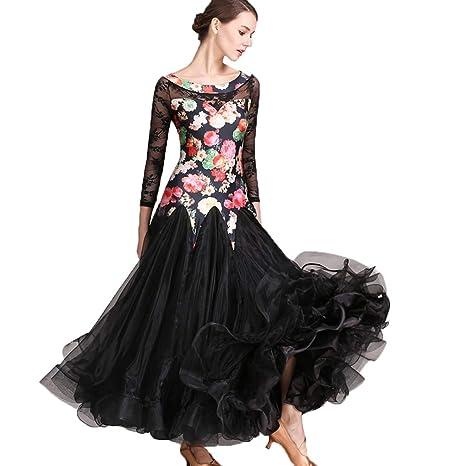 182c0ea270 Costume da Ballo di Valzer Moderno Professionale per Le Donne Abiti da  Ballo Standard Nazionale Vestito da Ballo di Moda Gonna Performance Print  di ...