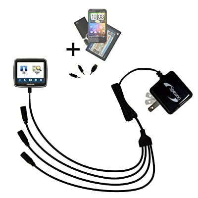 Unique Gomadic 4-Port Intelligent Compact AC Home Wall Charger suitable for the TomTom EASE - High output power with a convenient and foldable plug design - Uses TipExchange Technology