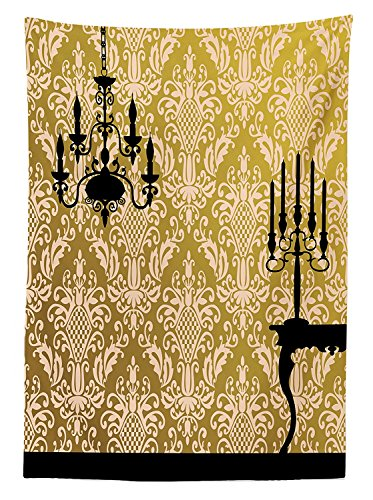 Damask Decor Tablecloth English Country House Damask Motif on Wall and Chandelier Silhouettes Renaissance Decor Dining Room Kitchen Rectangular Table Cover - Renaissance Sixteen Light Chandelier