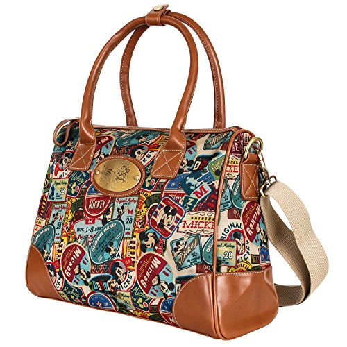 Disney Vintage Mickey Pattern Top Handle Satchel Bag With Mini Purse Pouch(bag-059-1) by Disney