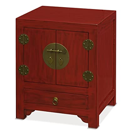 China Furniture Online Elmwood Cabinet, Ming Style Night Stand Or End Table  Distressed Red Finish