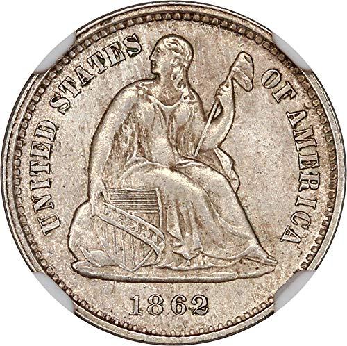 1862 P Liberty Seated Half Dimes Half Dime MS64 NGC\CAC - Ngc Dimes