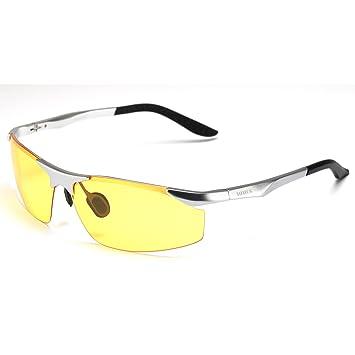 5063068ebd Soxick® Mens HD Metal Polarized Night Driving Glasses Sports Sunglasses (Silver  Frame Yellow Lens-1)