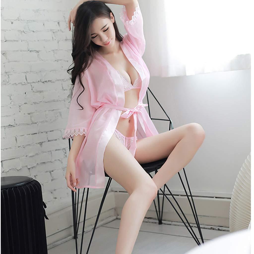 OB-Womens Sexy Liguero Liguero Liguero Lencería erótica Sexy Perspectiva Femenina Sexy Abierto de Tres Puntos Albornoz Traje de Traje de Chaqueta - Pareja coqueteando - Pijamas - Vestido - Ropa (Color : A) 67fe5f