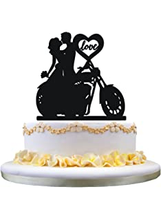 Amazoncom Motorcycle Biker Wedding Cake Topper By Magical Day