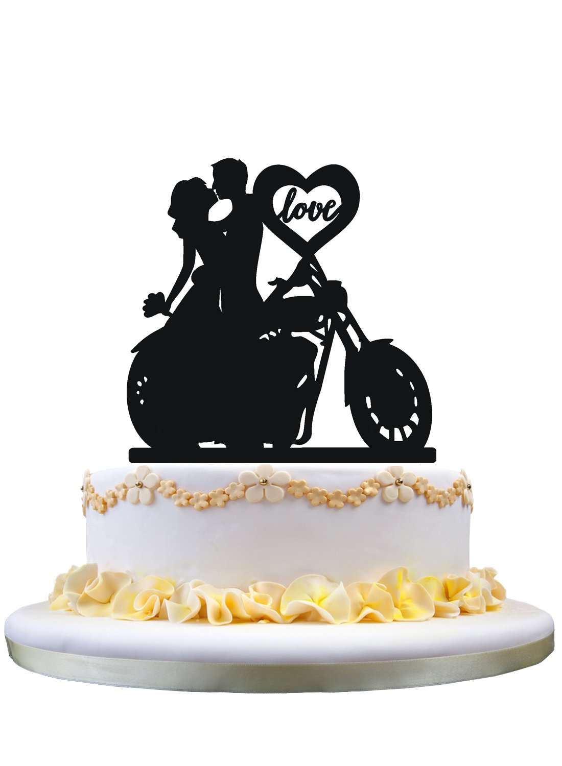 Amazon.com: Motorcycle Couple Wedding Cake Topper with love heart ...
